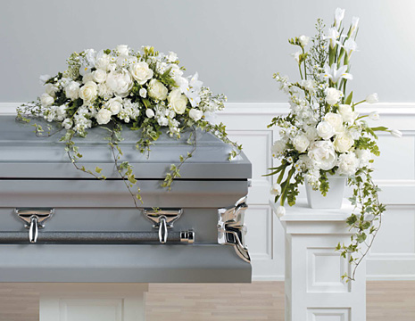 Floral Cathedral Casket Spray and Arrangement