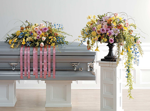 Spring Casket Spray and Stand
