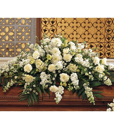Symphony in White Casket Spray